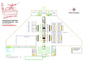 Distribution of the pistes and services in pavillon 4